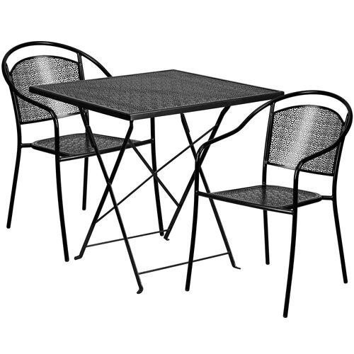 28'' Square Black Indoor-Outdoor Steel Folding Patio Table Set with 2 Round Back Chairs