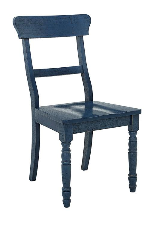Dining Chair- 2/CTN- Antique Navy - Antique White Finish