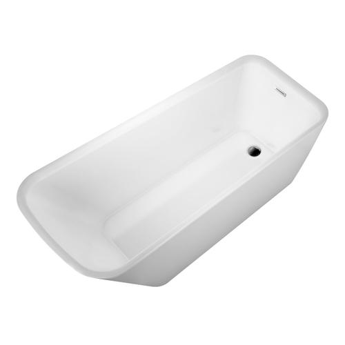 "Marakesh 68"" Acrylic Slipper Tub with Integral Drain and Overflow - Polished Brass Drain and Overflow"