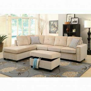 ACME Belville Sectional Sofa w/Pillows (Reversible) - 52705 - Beige Velvet