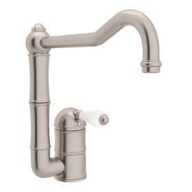 Acqui Single Hole Column Spout Kitchen Faucet - Satin Nickel with White Porcelain Lever Handle