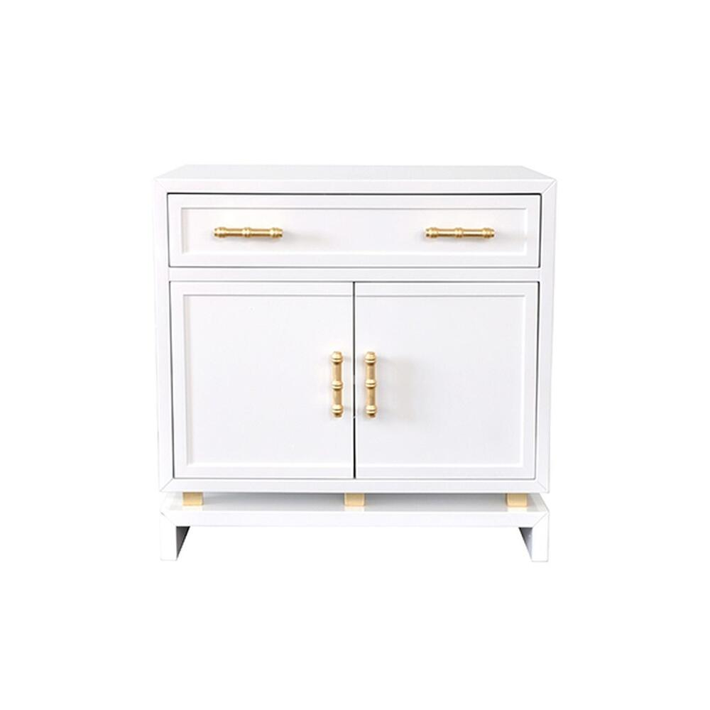 This Charming, Asian-inspired Lamp Table Instantly Elevates Your Space. Whether Adorning A Hallway or Living Room, the White Lacquer Finish Complements Virtually Any Color Scheme. Gold Leaf, Bamboo Style Hardware Adds A Stylized, Natural Element. Plenty of Useful Storage With Drawer and Cabinet, So Marcus Is Not Only Gorgeous, But Also Practical.