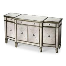See Details - Plenty of storage! Trimmed in antique pewter and crafted from Birch Wood solids, this stunning mirrored buffet is sure to get attention!
