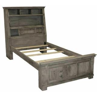 See Details - Charcoal Grey Jumbo Twin W/ Shelves