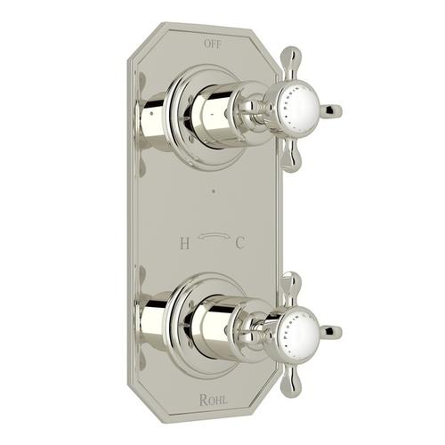 "Polished Nickel Perrin & Rowe Edwardian 1/2"" Thermostatic/Diverter Control Trim with Edwardian Cross Handle"