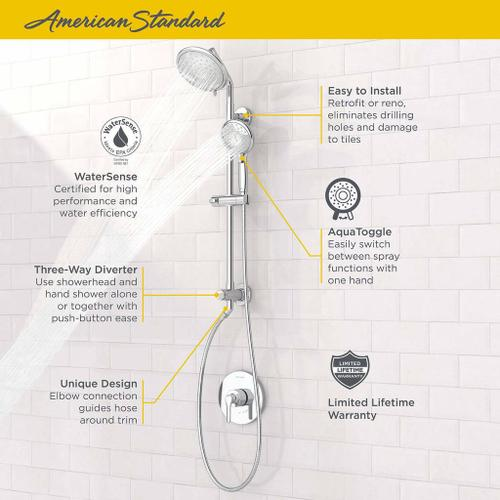 """American Standard - Spectra Versa Shower System with 4-Spray Shower Head and Hand Shower - 24"""" Slide Bar  American Standard - Polished Chrome"""