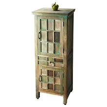 The muted, antiqued color tones of greens, browns and whitewash imbue this cabinet with rustic elegance. Crafted from acacia wood solids and wood products in the Water Colors finish with complementary, brass-finished hardware, the cabinet features abundant storage on three shelves behind closed doors separated by a deep drawer.