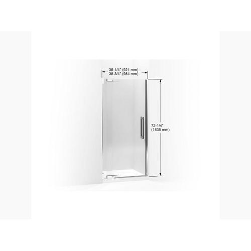 """Crystal Clear Glass With Brushed Nickel Frame Pivot Shower Door, 72-1/4"""" H X 36-1/4 - 38-3/4"""" W, With 1/2"""" Thick Crystal Clear Glass"""