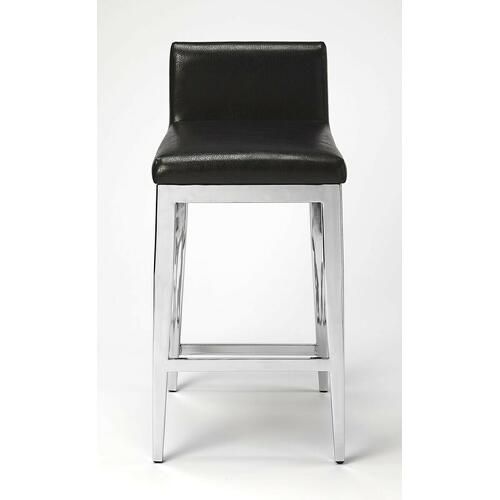 Pull up a seat and sip your favorite beverage while watching the game. This counter stool brings a bit of contemporary glam to your entertainment or kitchen ensemble. Founded atop a metal frame in a stainless steel finish, its seat and back are upholstered in a black faux leather for easy upkeep.