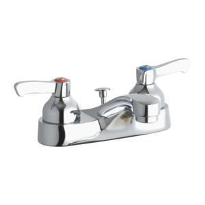 "Elkay 4"" Centerset with Exposed Deck Faucet with Pop-up Drain Integral Spout 2"" Lever Handles Product Image"