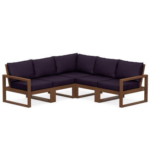 Polywood Furnishings - EDGE 5-Piece Modular Deep Seating Set in Teak / Navy Linen