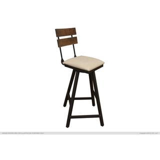 "See Details - 30"" Swivel Barstool w/ Fabric Seat & Iron Base"