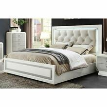 ACME Allendale Eastern King Bed - 20197EK - Beige PU & Ivory High Gloss