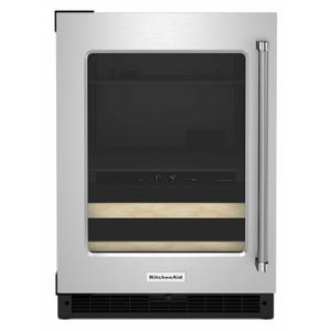 """KitchenAid24"""" Beverage Center with Glass Door and Wood-Front Racks - Stainless Steel"""