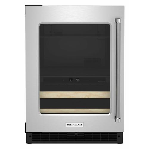 """KitchenAid - 24"""" Beverage Center with Glass Door and Wood-Front Racks - Stainless Steel"""