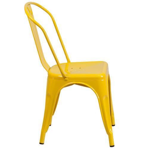 Yellow Metal Indoor-Outdoor Stackable Chair