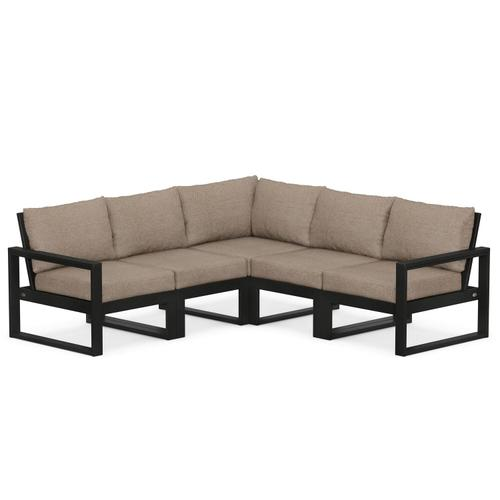 Polywood Furnishings - EDGE 5-Piece Modular Deep Seating Set in Black / Spiced Burlap