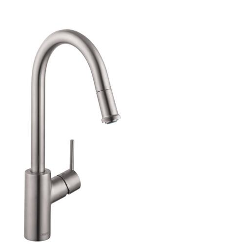 Steel Optic HighArc Kitchen Faucet, 1-Spray Pull-Down, 1.75 GPM