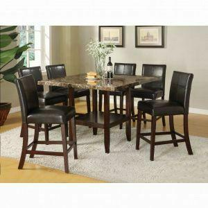 Acme Furniture Inc - ACME Idris Counter Height Table - 70355 - Faux Marble - Espresso Leg