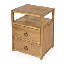 See Details - The minimalist design of this stylish nightstand makes it an ideal addition in any contemporary space. Crafted from acacia or pine wood solids and engineered wood products, it features two drawers with ring pulls, for a hint of glam, and ball bearing glides for easy opening and closing. Just beneath the top is an open shelf for keeping essentials organized and within reach, and it is a great spot to charge a phone or other device. It is suitable for use as an end table, and is available in white, navy, and a natural wire brush finishes.