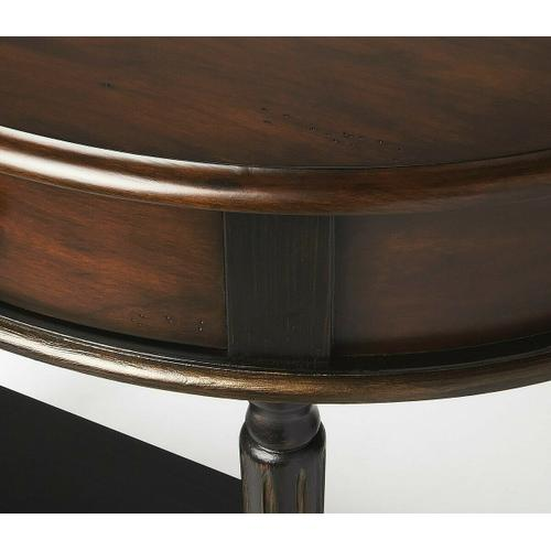 Butler Specialty Company - Hand painted finish on selected hardwoods and wood products. Choice cherry vener on top, drawer front and side aprons. Felt lined drawer with antique brass finished drawer pull.