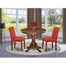 3Pc Rounded 36 Inch Dinette Table And Two Parson Chair With Mahogany Leg And Pu Leather Color Firebrick Red