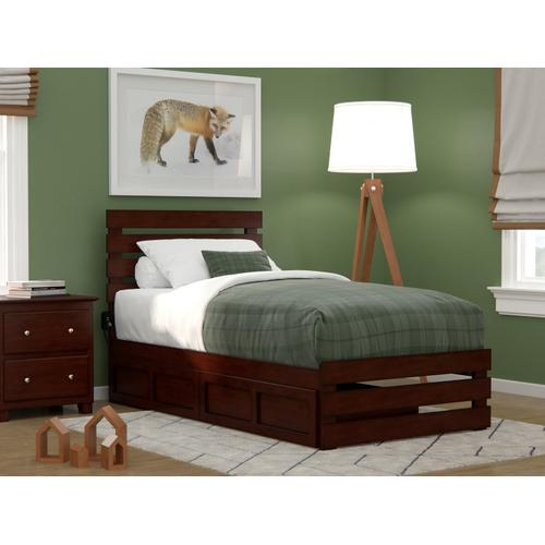 Oxford Twin Bed with Footboard and USB Turbo Charger with 2 Drawers in Walnut