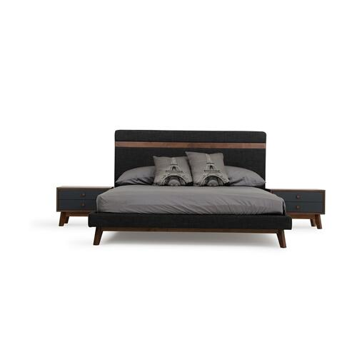 VIG Furniture - Nova Domus Dali Modern Grey Fabric & Walnut Bed
