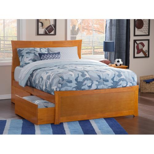 Metro Full Bed with Matching Foot Board with 2 Urban Bed Drawers in Caramel Latte