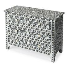 See Details - Sophisticated artistry and craftsmanship go into the detailed botanic and geometirc pattern on the drawers, top and sides of this delightful chest. White bone inlays individually cut and applied against a black background make each dresser a bonafide original. The chest boasts three storage drawers , ideal for a child or teenager's room and equally at home in the dressing room or sitting room.