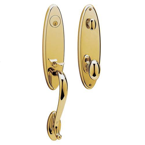 Baldwin - Non-Lacquered Brass Blakely Handleset