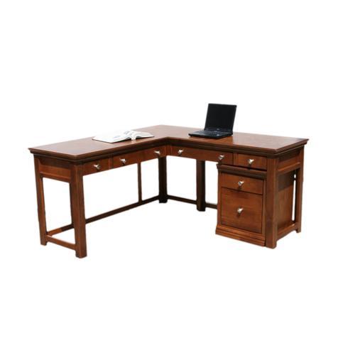 """A-T371 Traditional Alder 60"""" Laptop Desk with Return"""