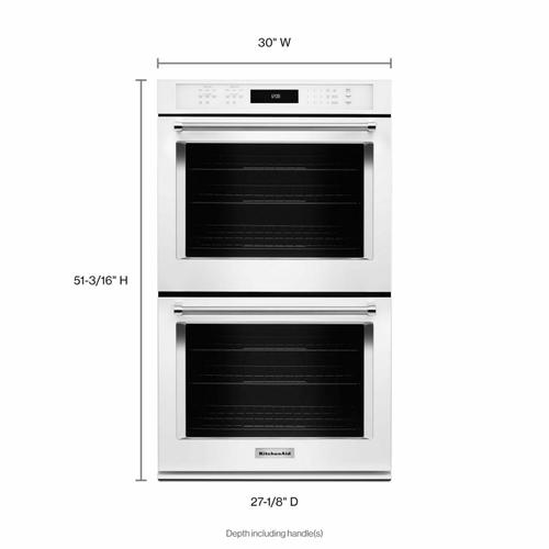 """KitchenAid - 30"""" Double Wall Oven with Even-Heat™ True Convection - White"""