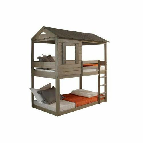 ACME Darlene Twin/Twin Bunk Bed - 38140 - Cottage - Wood (Solid Pine) - Rustic Gray
