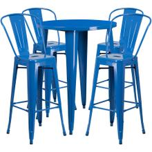 30'' Round Blue Metal Indoor-Outdoor Bar Table Set with 4 Cafe Stools