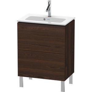Vanity Unit Floorstanding Compact, Brushed Walnut (real Wood Veneer)