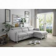 ACME Reyes Sectional Sofa w/Sleeper - 56040 - Contemporary - Nubuck, Frame: Wood (Eucalyptus+Ply), Foam (D), Metal Sleeper Mechanism, Metal Leg - Beige Nubuck Product Image