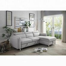 ACME Reyes Sectional Sofa w/Sleeper - 56040 - Contemporary - Nubuck, Frame: Wood (Eucalyptus+Ply), Foam (D), Metal Sleeper Mechanism, Metal Leg - Beige Nubuck