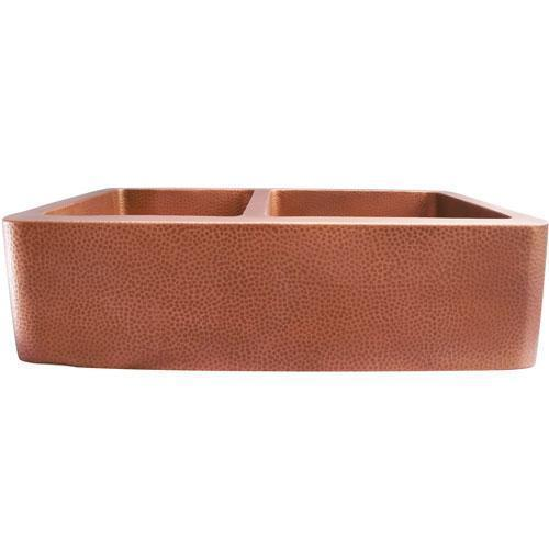 "33"" Perla Double Bowl Copper Farmer Sink"