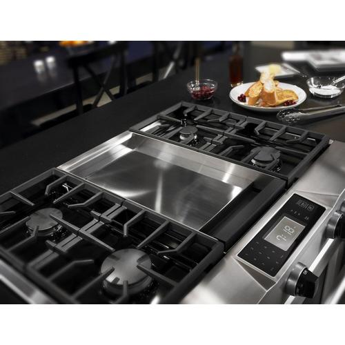 KitchenAid - 36'' 4-Burner with Griddle, Dual Fuel Freestanding Range, Commercial-Style Stainless Steel