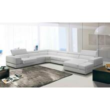 See Details - Divani Casa Pella - Modern White Italian Leather U Shaped Sectional Sofa