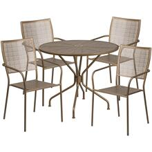 35.25'' Round Gold Indoor-Outdoor Steel Patio Table Set with 4 Square Back Chairs