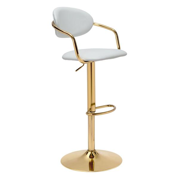 See Details - Gusto Bar Chair White & Gold