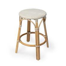 See Details - Evoking images of sidewalk tables in the Cote d'Azur, counter stools like this will give your kitchen or patio the casual sophistication of a Mediterranean coastal bistro. Expertly crafted from thick bent rattan for superb durability, it features weather resistant woven plastic in a beige and white pattern. This backless counter stool is lightweight for easy mobility with comfort to make the space it's in a frequent gathering place.