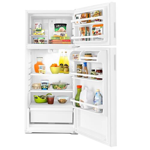 28-inch Top-Freezer Refrigerator with Gallon Door Storage Bins White