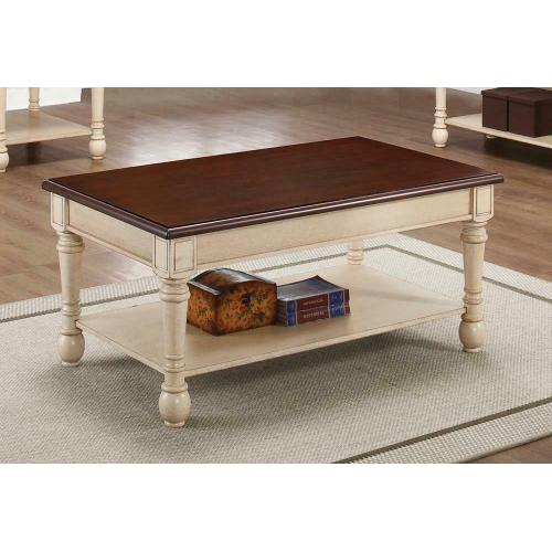 704418 In By Coaster In Muncie In Transitional Dark Brown Antique White Coffee Table