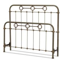 See Details - Madera Metal Headboard and Footboard Bed Panels with Intricate Carved Castings and Brass Color Plated Designs, Rustic Green Finish, Queen