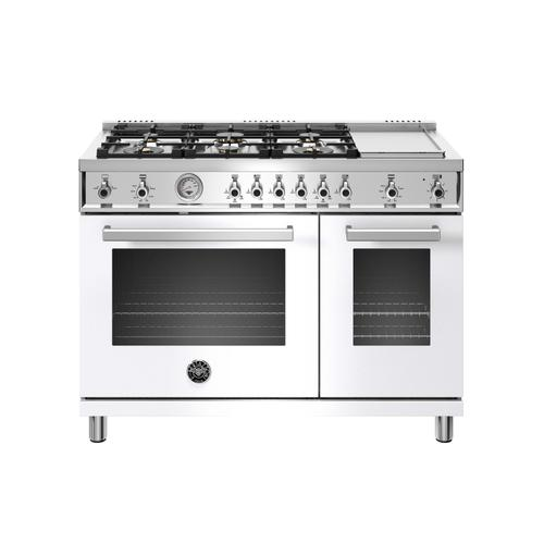 48 inch All-Gas Range 6 Brass Burner and Griddle Bianco