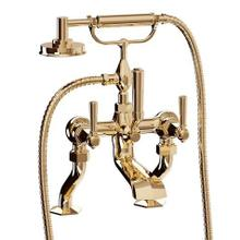 See Details - Waldorf Exposed Deck-mount Bathtub Faucet with Handshower and Metal Lever Handles - Unlacquered Brass