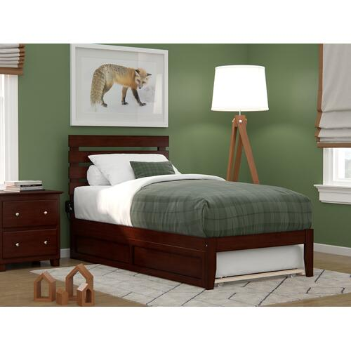 Atlantic Furniture - Oxford Twin Bed with USB Turbo Charger and Twin Trundle in Walnut